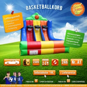 Basketballkorb aufblasbares Spiel mieten